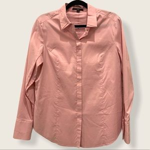 Hugo Boss dusty rose pink button front long sleeve